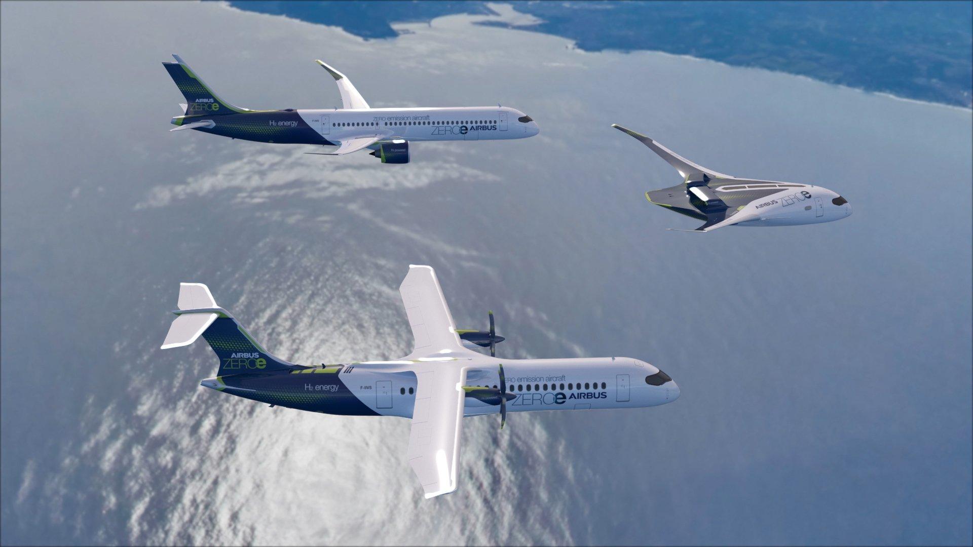 Airbus har afsløret fremtidens klimaneutrale passagerfly – tre såkaldte konceptfly med navnet ZEROe. Foto: Airbus