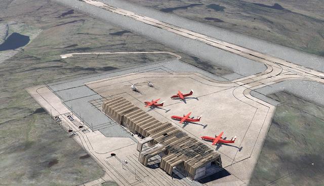 Illustration af den kommende lufthavn i Qaqortoq. Kilde: Kalaallit Airports