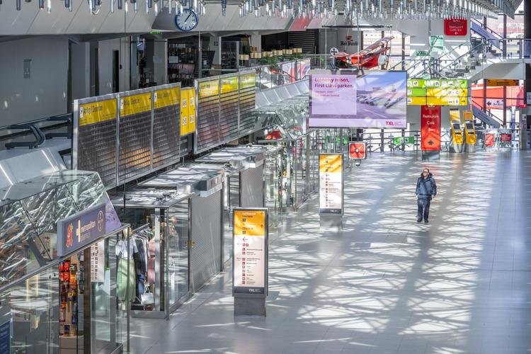 Hovedterminalen i Berlin Tegel under coronapandemien. Foto: Flughafen Berlin Brandenburg (FBB)