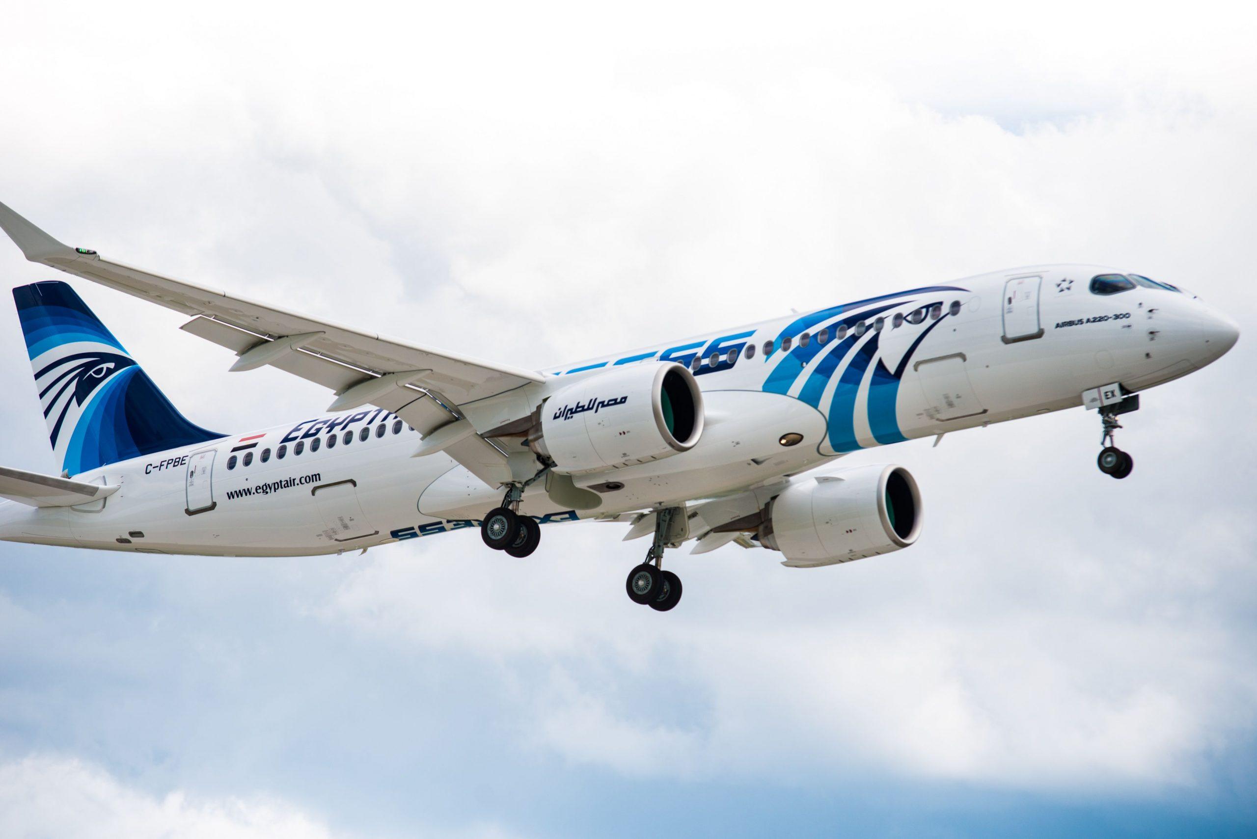 Airbus A220-300 fra Egyptair. (Foto: Egyptair)