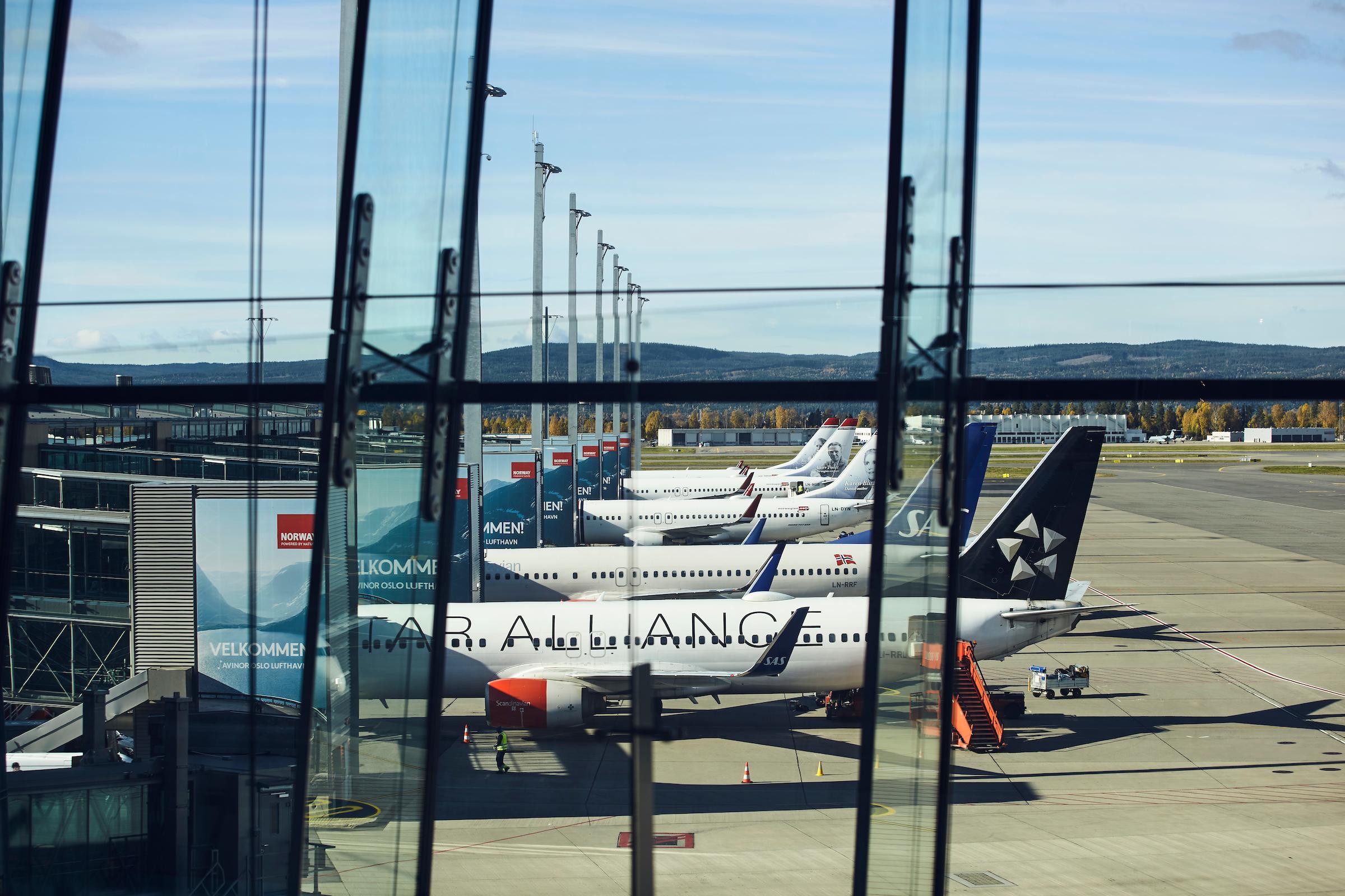 Fly fra SAS og Norwegian i Oslo Lufthavn. (Foto: Avinor | PR)