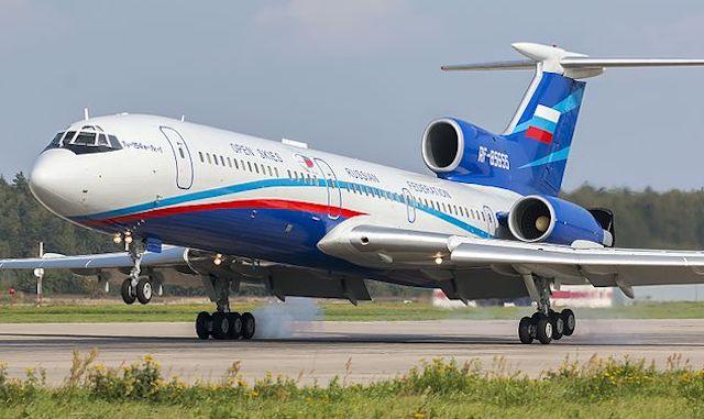 Dette russiske Tupolov Tu-154 med registreringen RF-85655 fløj onsdag over Danmark. Foto: Wikimedia Commons