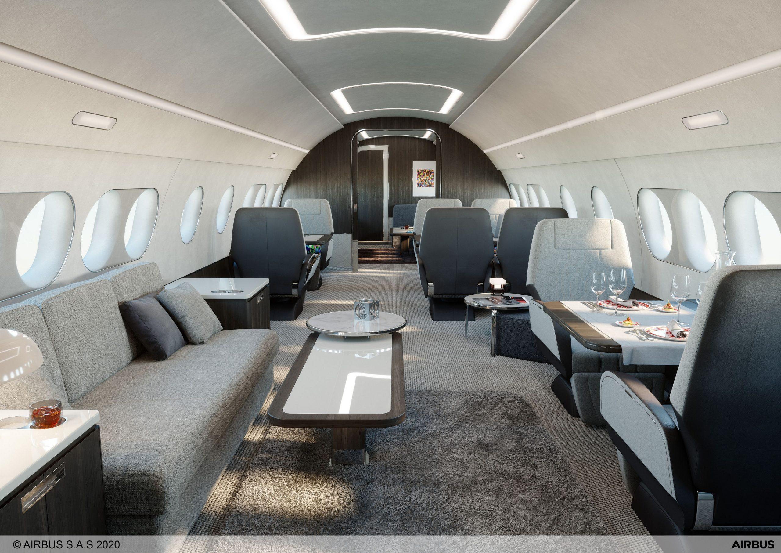 """En såkaldt """"Modern Lounge"""" i en ACJ TwoTwenty fra Airbus. Foto: Airbus"""