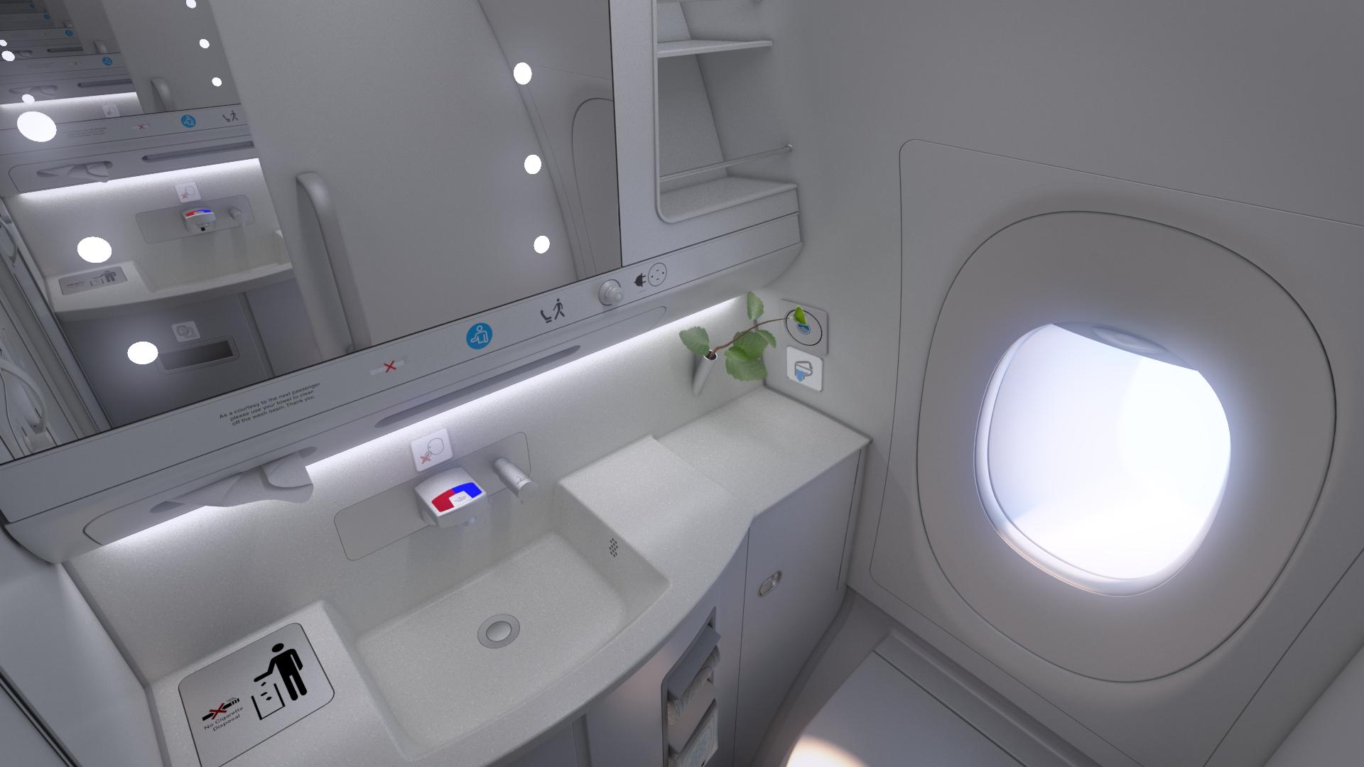 Et toilet på Business Class i Finnairs Airbus A350. Foto: Finnair