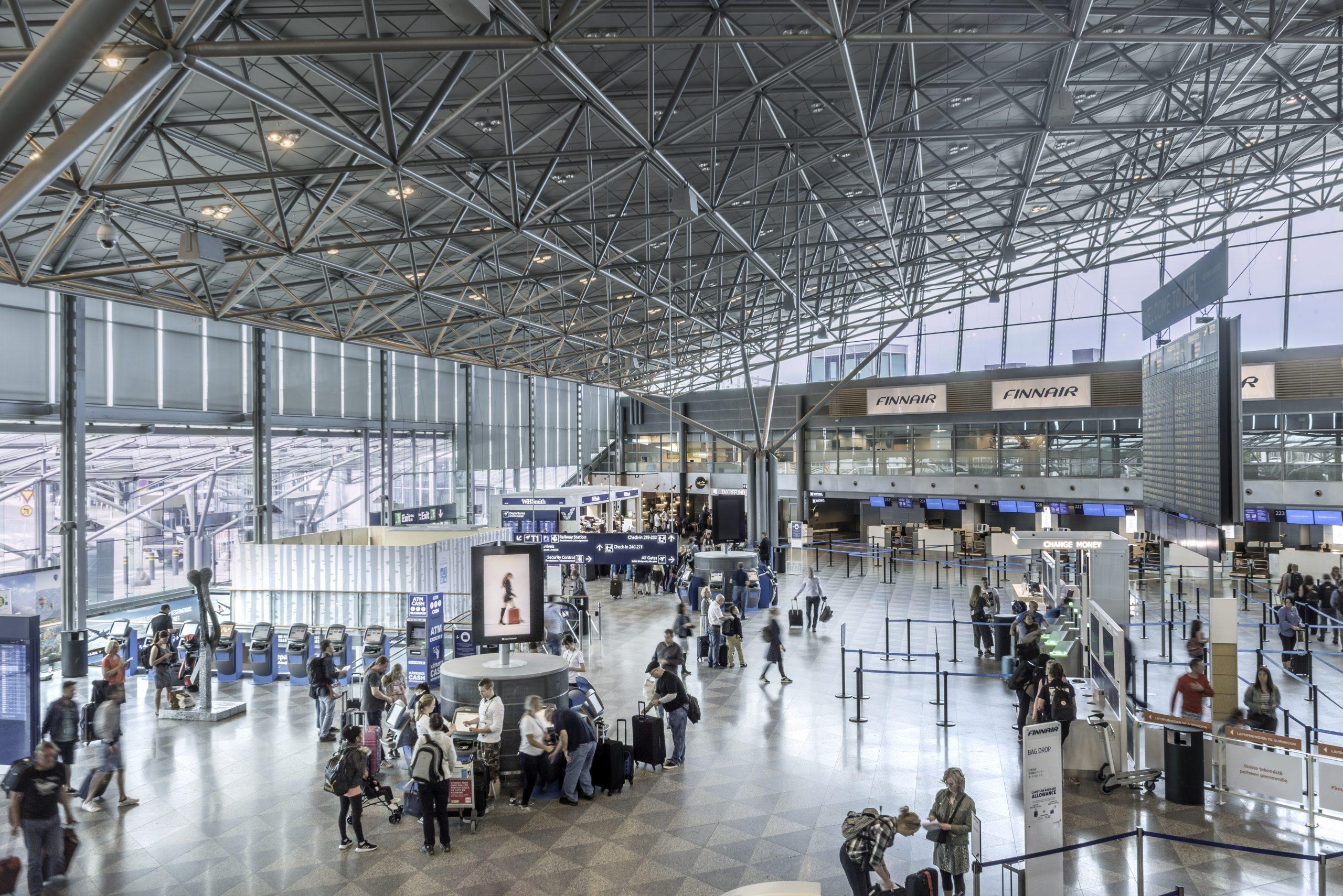 Afgangshallen i Terminal 2 i Helsinki Airport. Foto: Finavia