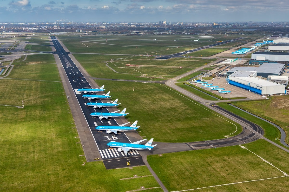 Amsterdam Schiphol Airport under nedlukning i april 2020. (Foto: Schiphol Airport)