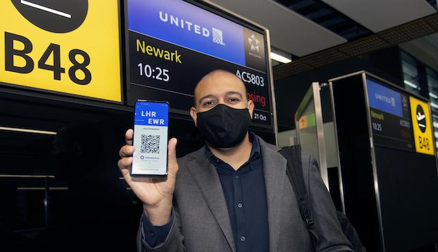 Klar til afrejse med United Airlines og CommonPass. Foto: PR