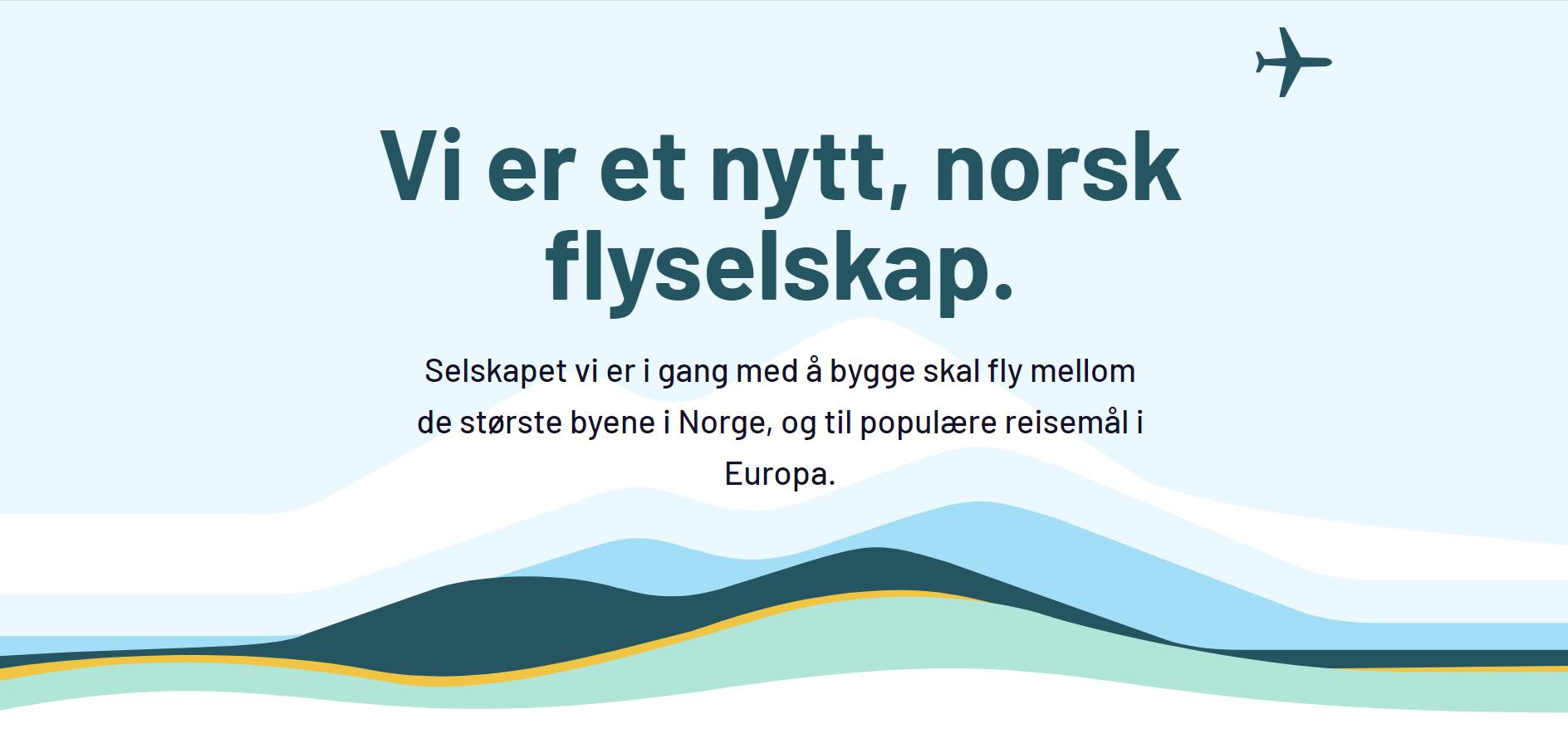 Det kommende norske flyselskab kan indtil videre findes på nyttflyselskap.no.