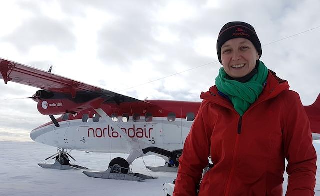 Nanna Bjørnholt Karlsson tilbragte fire uger på indlandsisen i den første eftersøgning efter A380-motordele. Foto: Liam Colgan