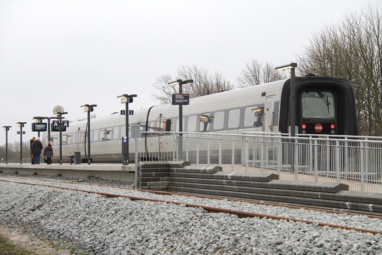 Tog på Aalborg Lufthavn Station. (Foto: Aalborg Lufthavn)