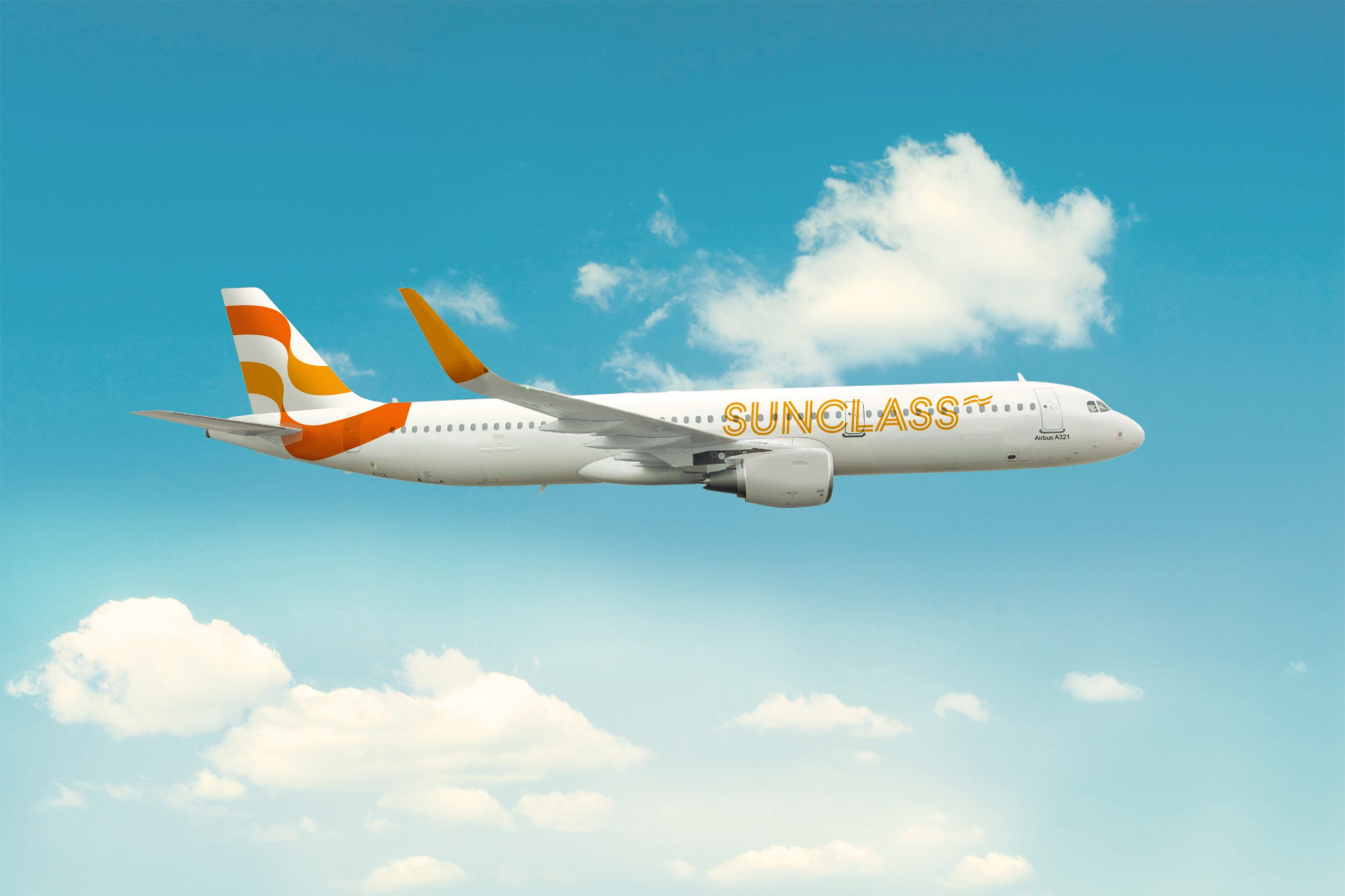 Airbus A321-200 fra Sunclass Airlines i den nye bemaling. (Foto: Sunclass)