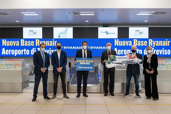 Ryanair åbner den 30. marts 2021 en base i Venedig-Treviso, der bliver den 15. i Italien. (Foto: Ryanair | PR)