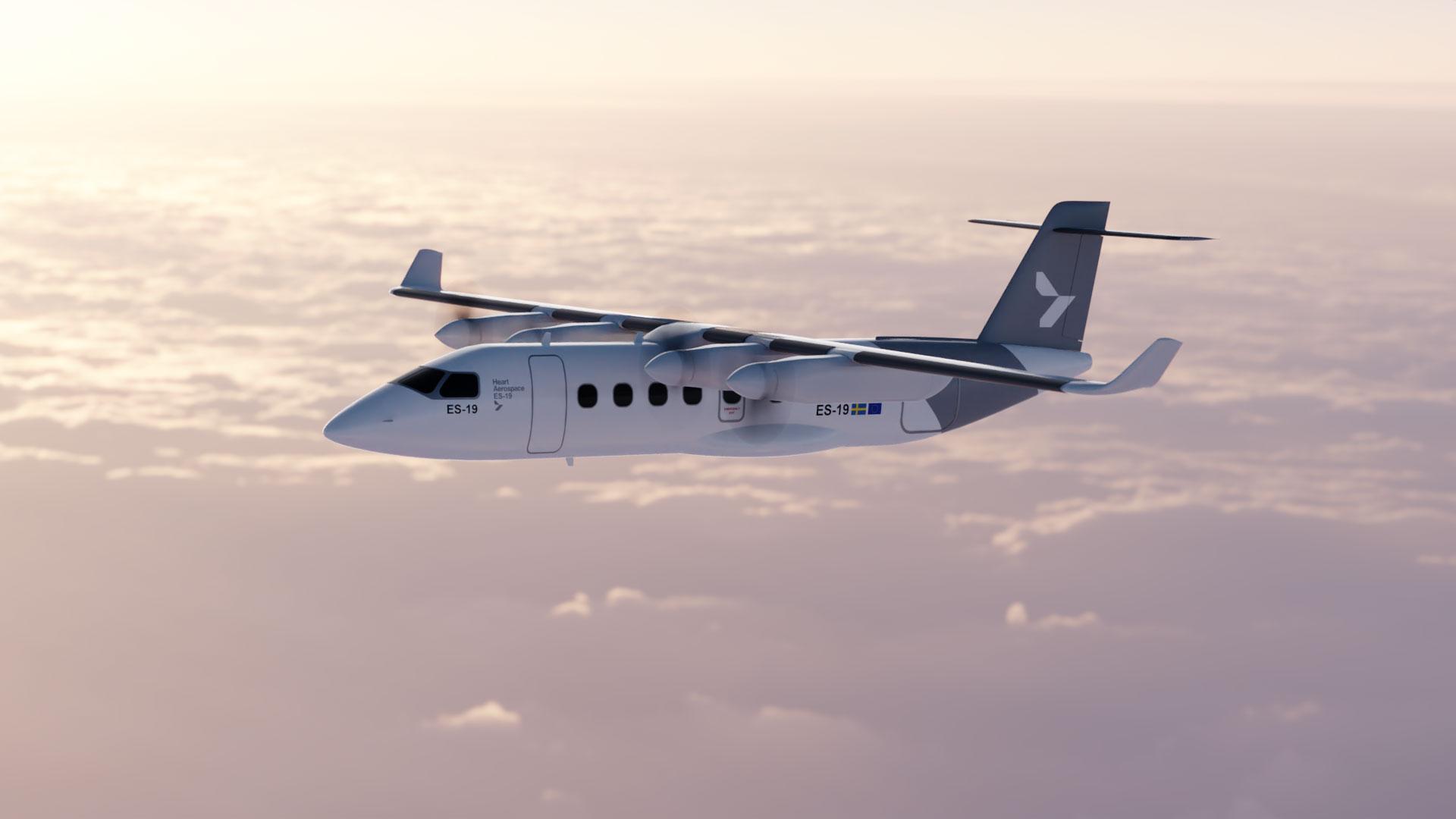 Det elektriske fly ES-19, der kan blive certificeret allerede i 2026, fra det svenske selskab Heart Aerospace. Illustration: Heart Aerospace
