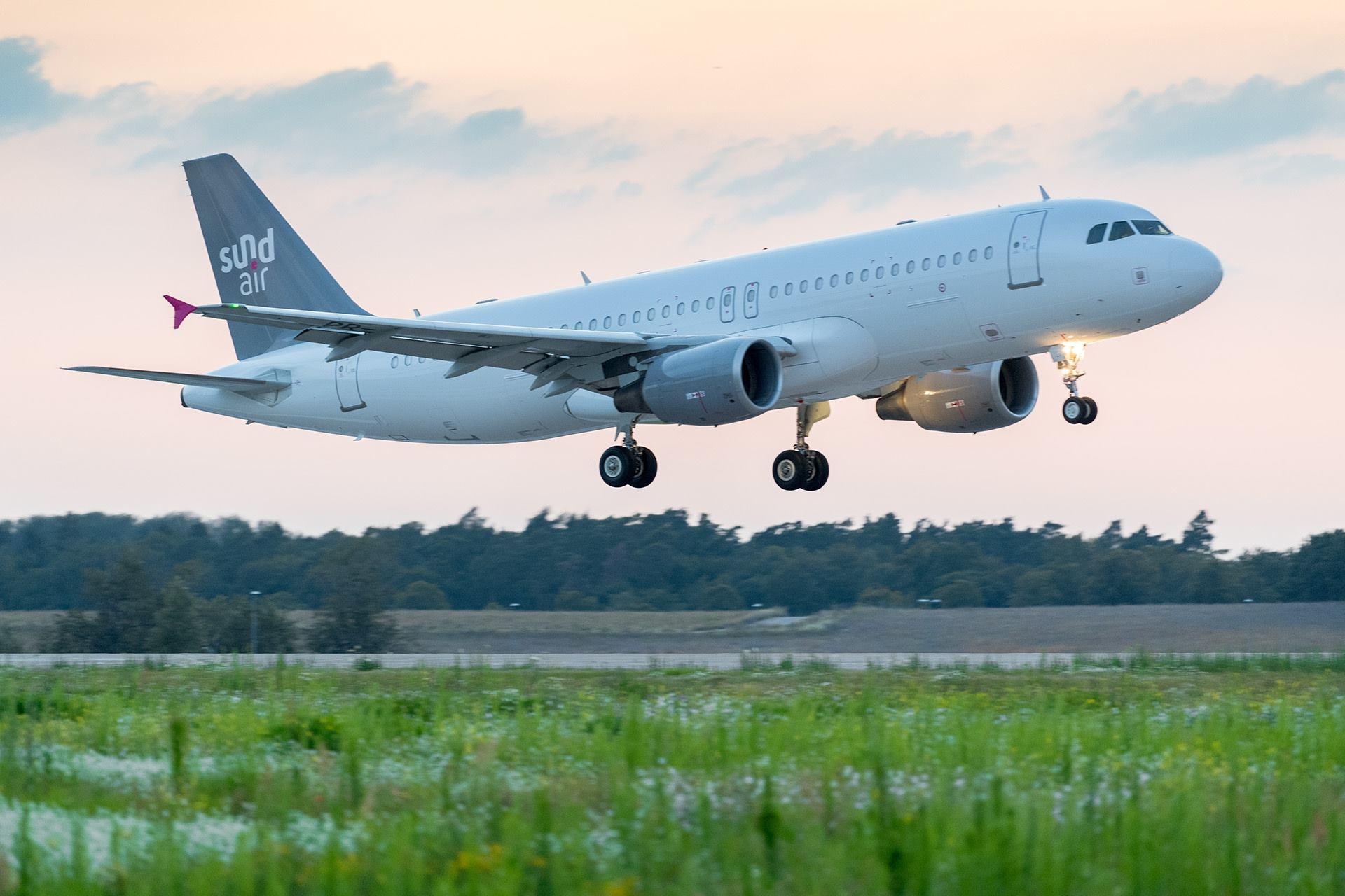 En Airbus A320-200 fra det tyske charterflyselskab Sundair. Foto: Sundair
