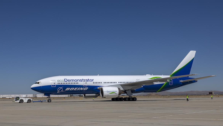 Boeing testfløj denne 777-200 med biobrændstof fra 2019 som en del af ecoDemonstrator-programmet. Foto: Boeing