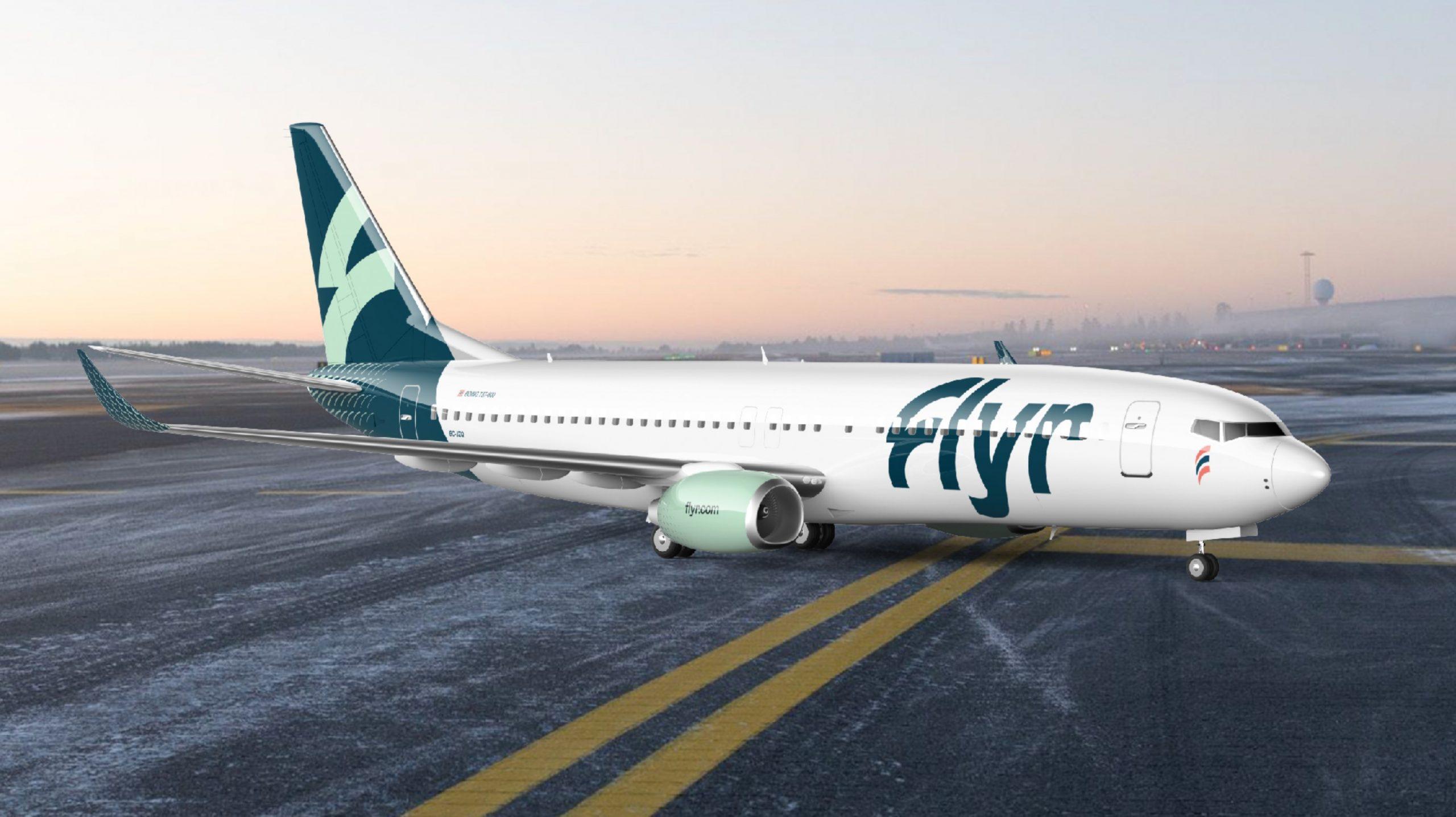 Boeing 737-800 i Flyr-bemaling. (Illustration: Flyr | PR)