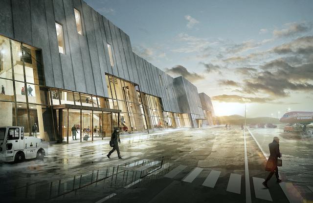 Sådan kan den nye terminalbygning i Nuuk komme til at se ud. Illustration: Zeso Architects