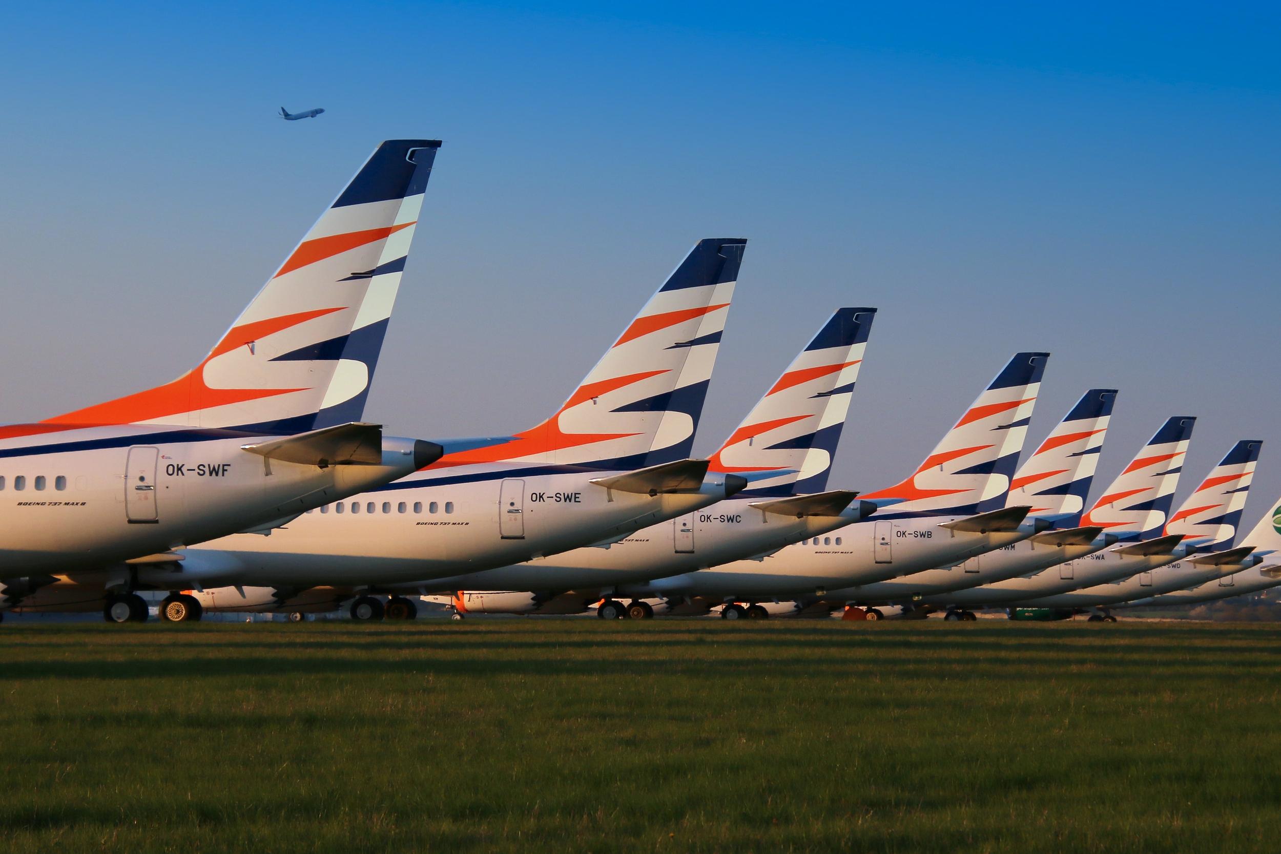 Syv Boeing 737 MAX 8 fra Smartwings parkeret i Prag Lufthavn. (Foto: Filip Koska   shutterstock_1400774798)