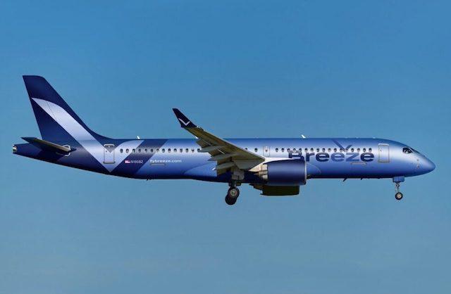 Embraer-fly fra Breeze Airlines. Dette fly er dog ikke leveret af NAC. Foto: Breeze Airlines