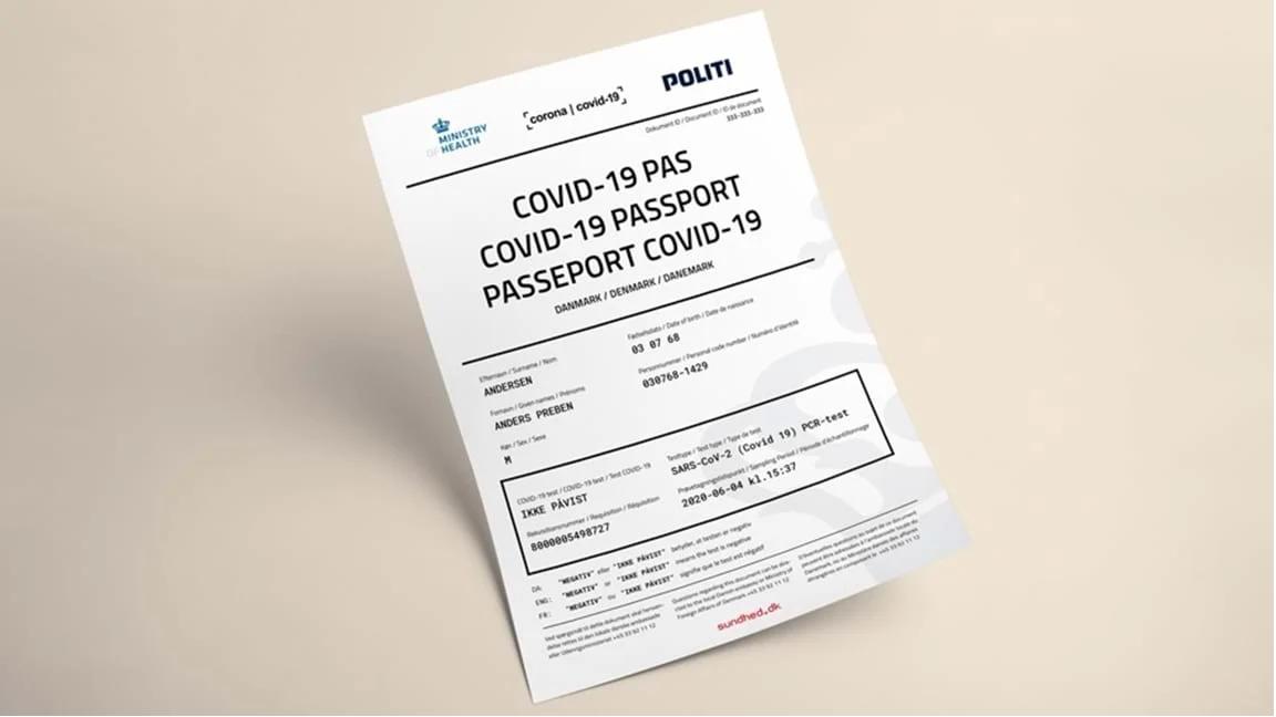 COVID-19 pas fra de danske myndigheder. (Foto: Sundhed.dk)