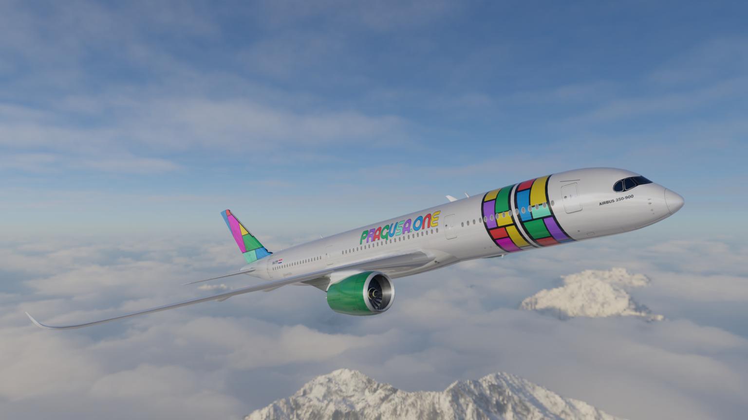 Pragusa.one vil på sigt benytte egne Airbus A350-900. (Illustration: Pragusa.one)