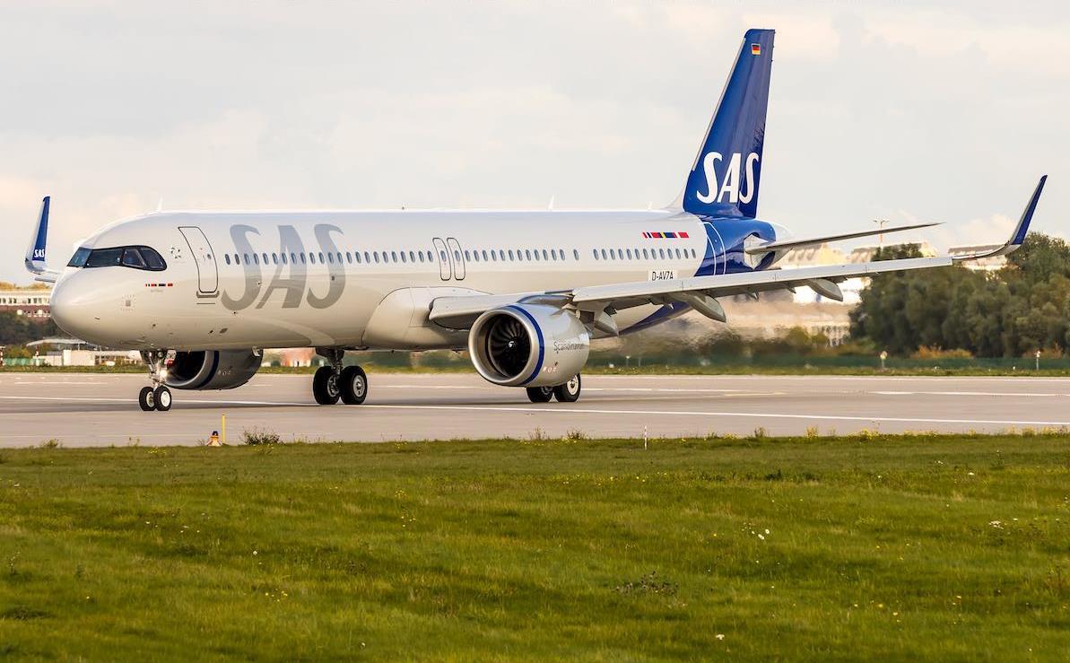 SAS Airbus A321LR i Hamburg Finkenwerder Airport (Foto: Dirk Grothe)