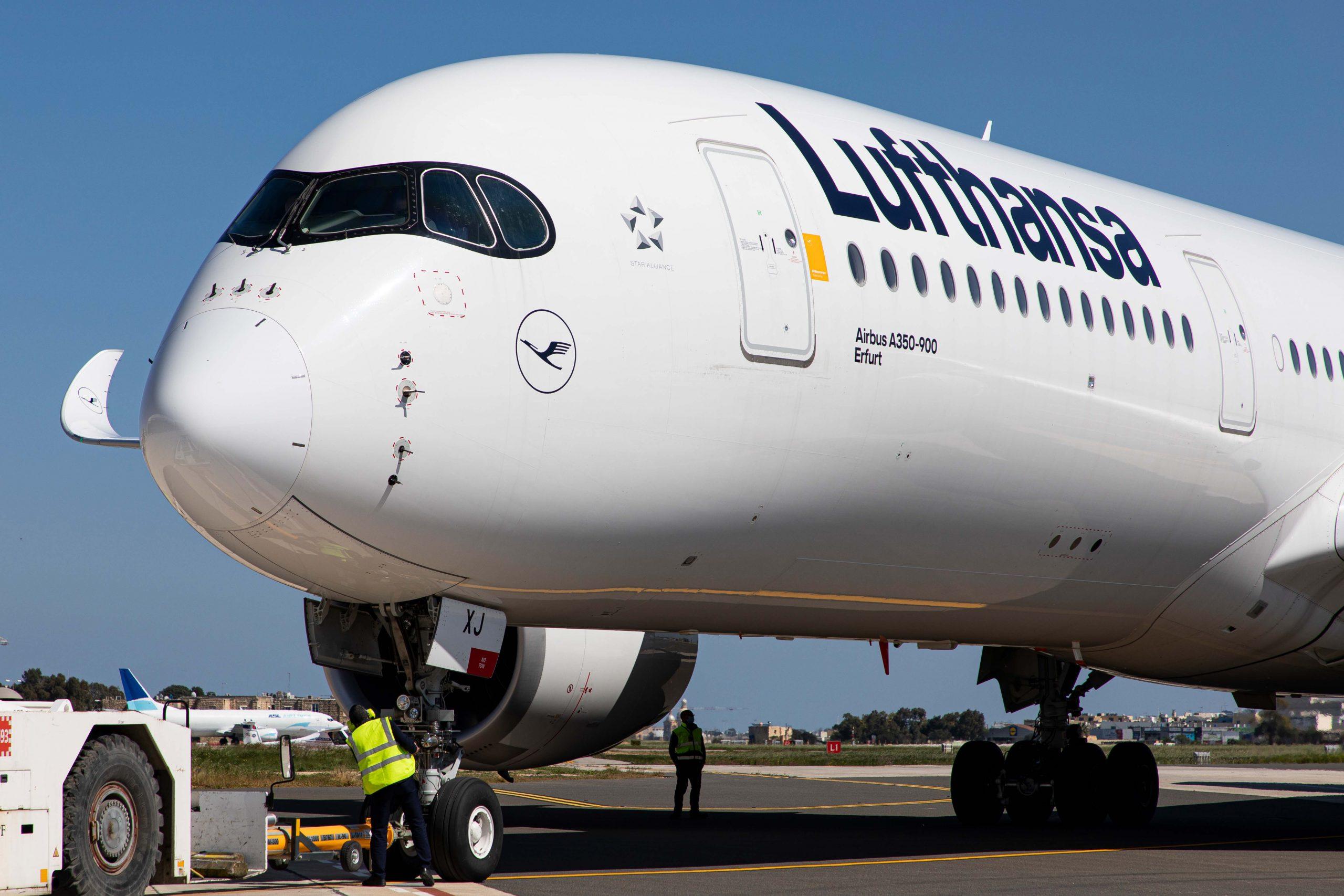 """Lufthansa-flyet her – en Airbus A350-900 med navnet """"Erfurt"""" – skal fra slutningen af 2021 foretage klimaforsknings-flyvninger. Foto: Lufthansa Group"""