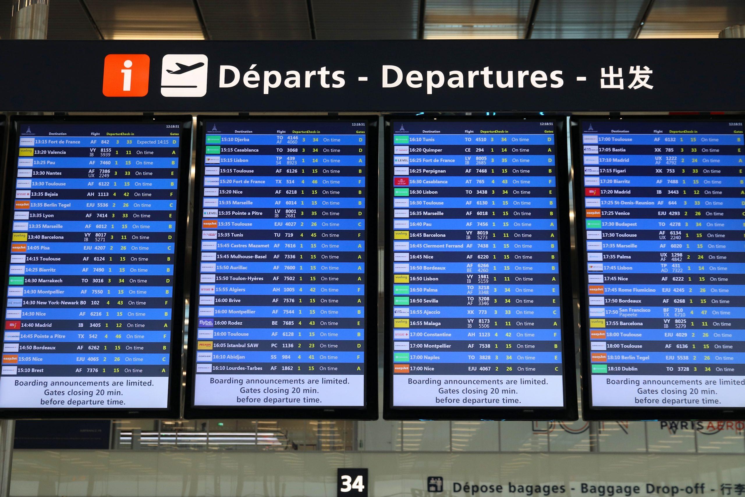 Afgangstavler i Paris Orly Airport. (Foto: Tupungato)