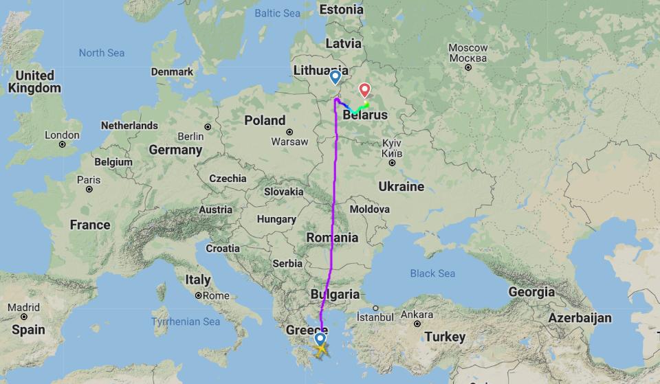 Ruten for Ryanair FR4978 fra Athen. (Flightradar24.com)