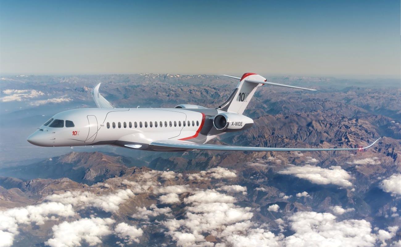 Franske Dassaults nyeste businessjet er Falcon 10X, der kommer på markedet i 2025. Illustration: Dassault Aviation