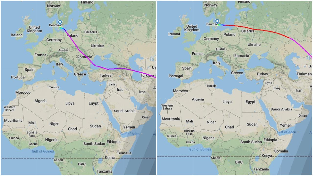 Flyveruten på SQ352 fra Singapore Airlines er ændret efter Ryanair-hændelsen. (Grafik: Flightradar24.com)