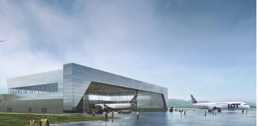 Illustration af den nye LOTAMS-hangar i polske Jasionka. Foto: LOTAMS