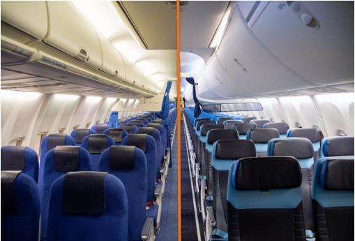 Til venstre er den gamle kabine på KLMs Boeing 737-800, og til højre er billede af den nye kabine på flyene. Foto: KLM