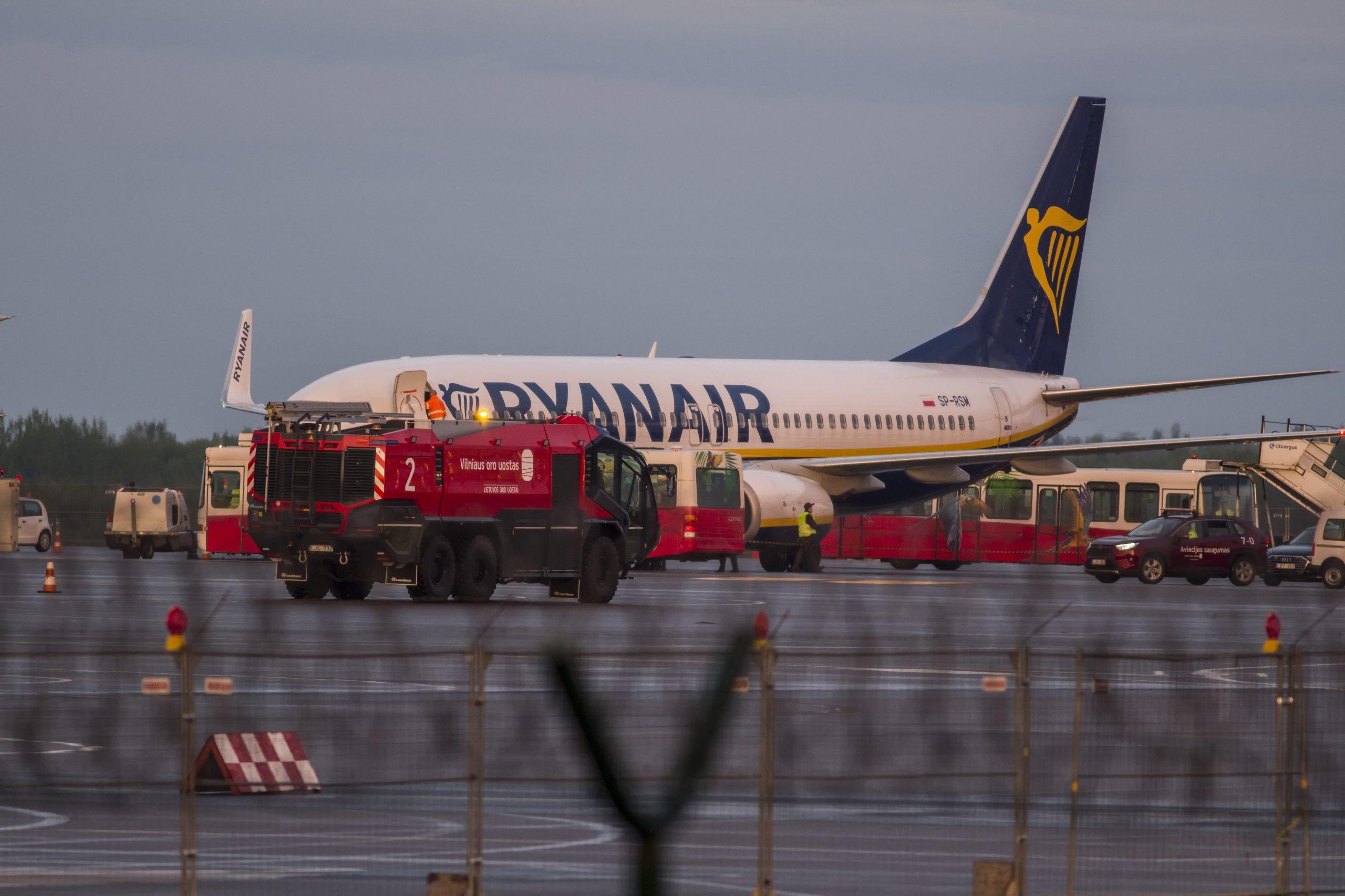 Ryanair-flyet efter ankomsten i Vilnius den 23. maj 2021. (Foto: Renatas Repcinskas)