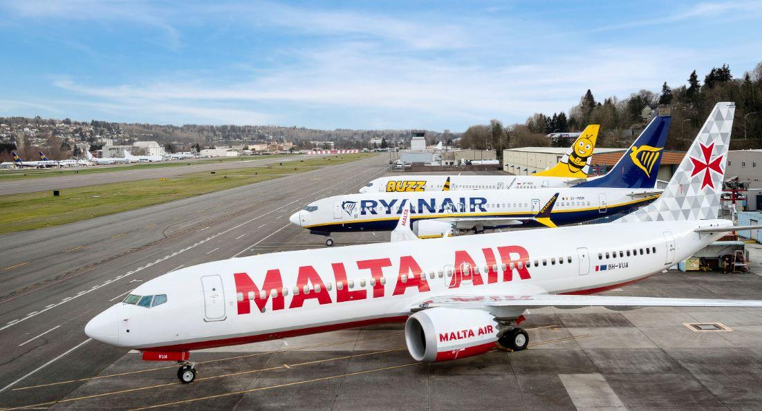 Boeing 737 MAX-fly fra Ryanair og datterselskaberne Malta Air og Buzz. Foto: Ryanair
