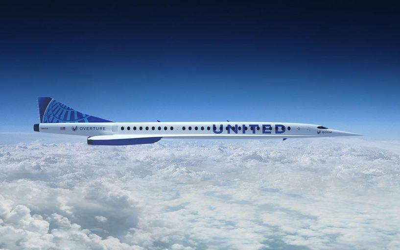 Boom Overture i United Airlines-farver. (Computergrafik fra Boom Supersonic)