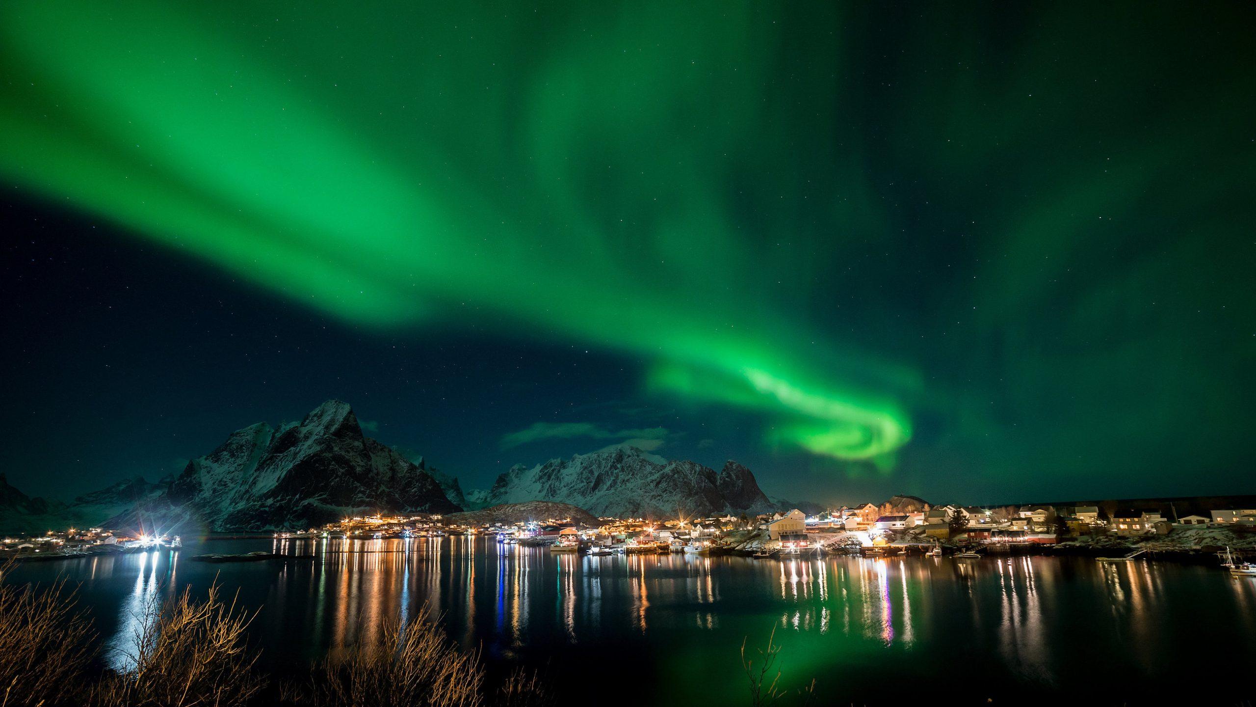 Nordlys over Tromsø. (Foto: Eurowings)