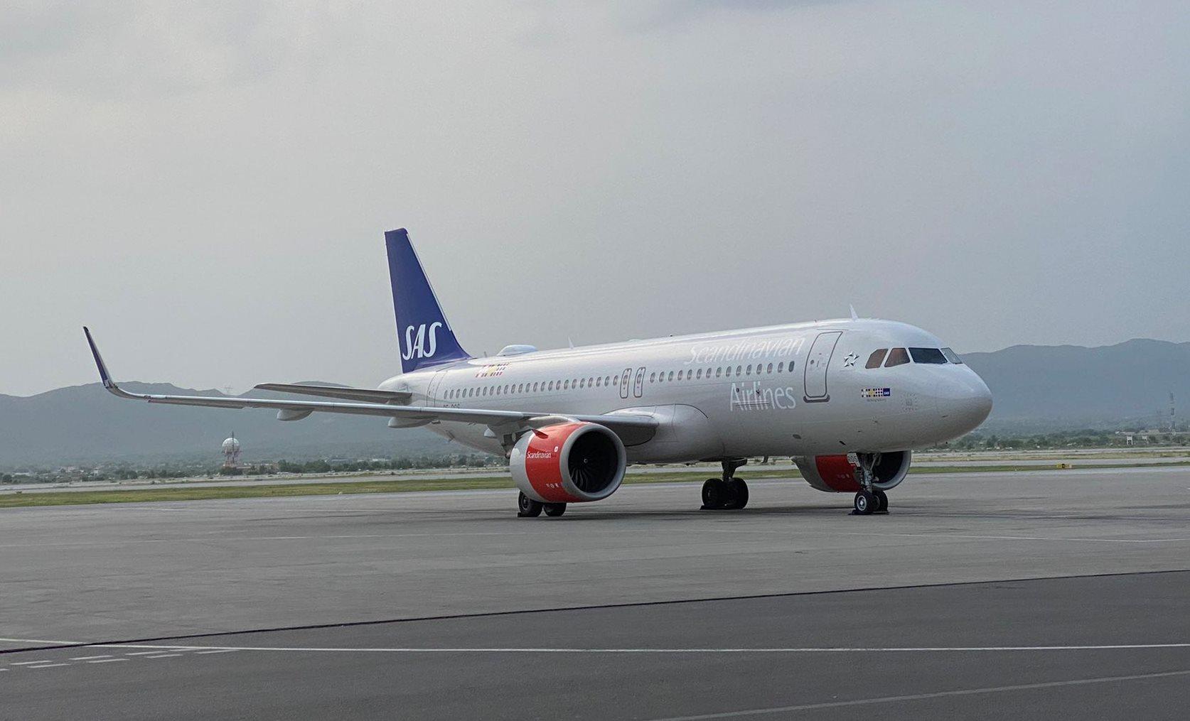 Airbus A320neo fra SAS i Islamabad Airport. (Foto: Lis Rosenholm   Twitter)