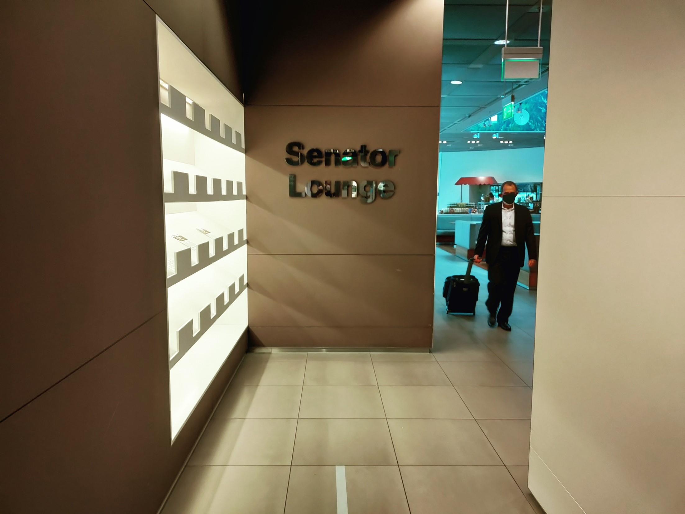 Indgangen til Lufthansa Senator Lounge Schengen i München Lufthavn. (Foto: Matthias Wagner)