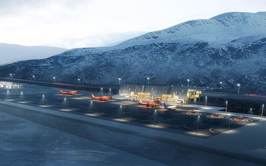Den nye internationale lufthavn i Nuuk. (Visualisering fra Kalaallit Airports)