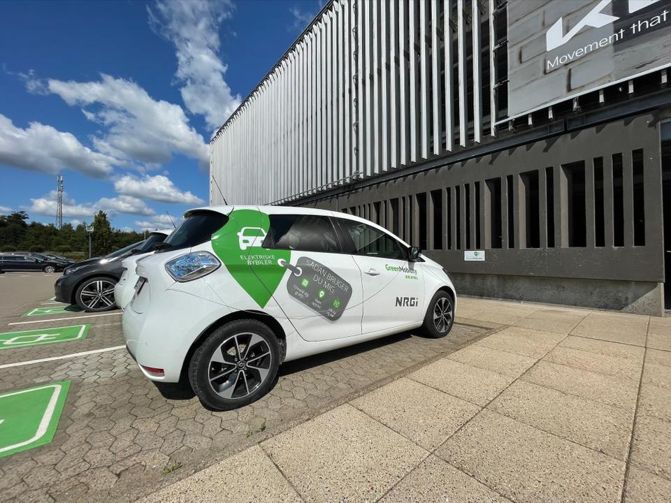 Elbil fra GreenMobility i Billund Lufthavn. (Foto: Billund Lufthavn | PR)
