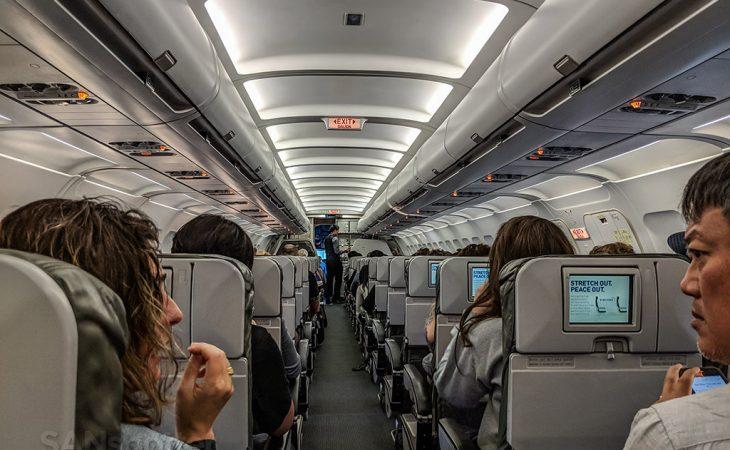 Kabine i JetBlue A320 på flyvning fra Fort Lauderdale. (Foto: Scott | SANspotter)