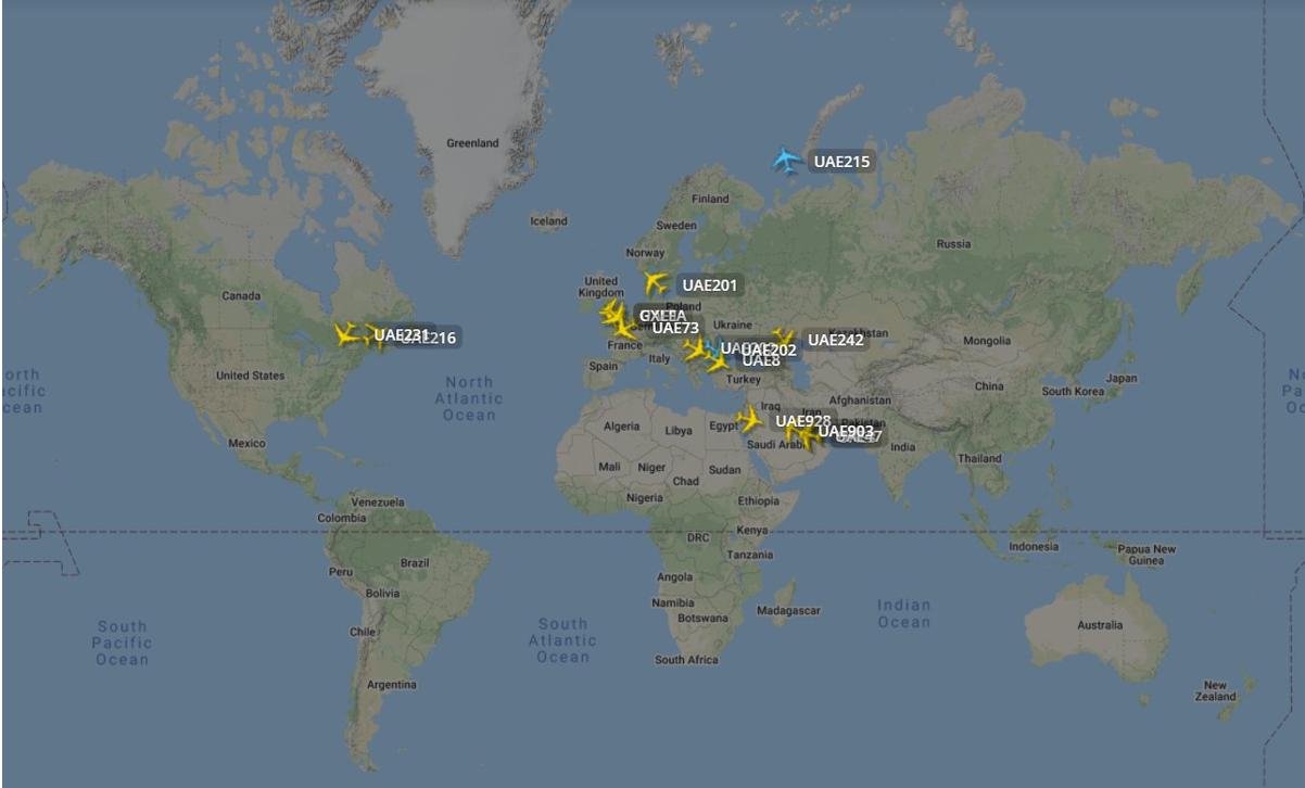 15 Airbus A380 i luften den 14. september 2021 kl. 13.15. (Flightradar24.com)