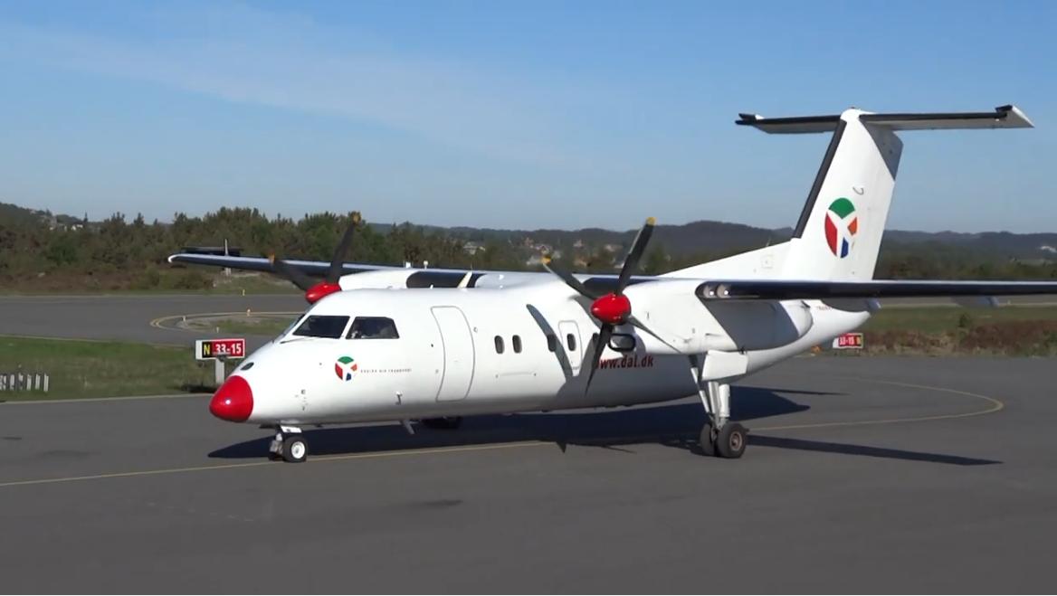 Dash 8-100 fra DAT, som selskabet benyttede fra 2012 til 2014. (Arkivfoto: Stord Lufthavn)