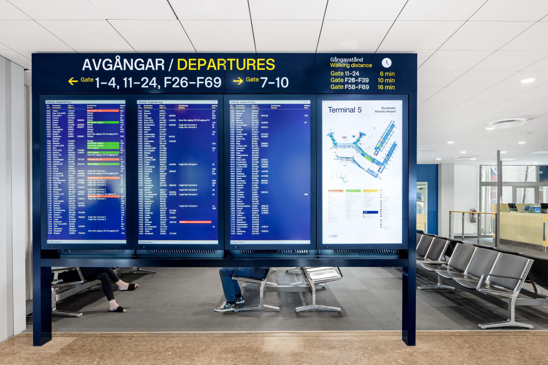 Afgangstavler i Stockholm Arlanda Airport. (Foto: Swedavia   PR)