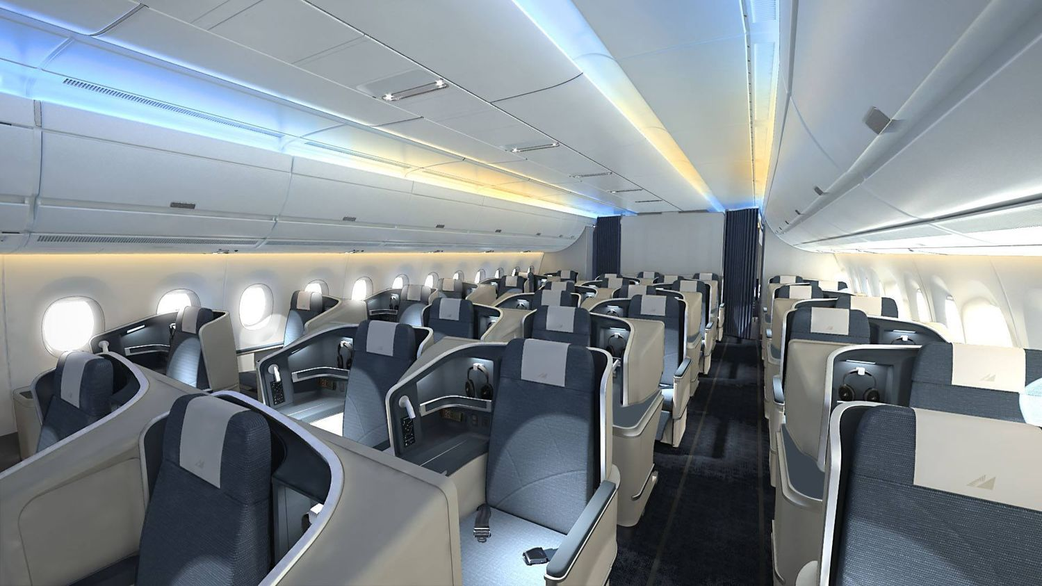 Business Class på Airbus A350-flyene fra Philippine Airlines – fly som Lufthansa nu overtager. Foto: Philippine Airlines